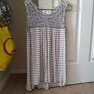 Gray and white striped tank top.